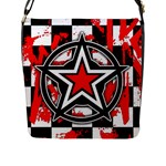 Star Checkerboard Splatter Flap Closure Messenger Bag (L)