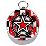 Star Checkerboard Splatter Silver Compass