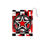 Star Checkerboard Splatter Drawstring Pouch (Small)
