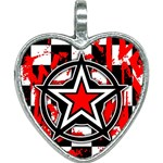 Star Checkerboard Splatter Heart Necklace