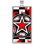 Star Checkerboard Splatter Rectangle Necklace