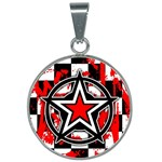 Star Checkerboard Splatter 25mm Round Necklace