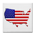 American Map Flag Tile Coaster