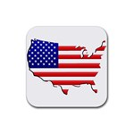 American Map Flag Rubber Square Coaster (4 pack)