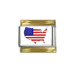 American Map Flag Gold Trim Italian Charm (9mm) from ArtsNow.com Front