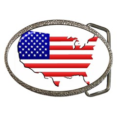 American Map Flag Belt Buckle from ArtsNow.com Front