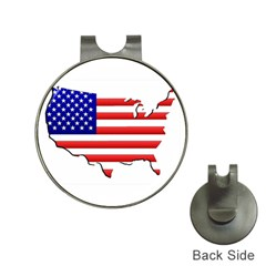 American Map Flag Golf Ball Marker Hat Clip from ArtsNow.com Front