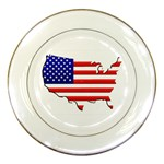 American Map Flag Porcelain Plate