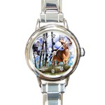 Deer Hunter Round Italian Charm Watch