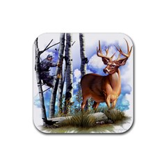 Deer Hunter Rubber Square Coaster (4 pack) from ArtsNow.com Front