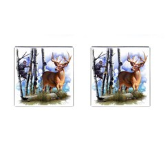 Deer Hunter Cufflinks (Square) from ArtsNow.com Front(Pair)
