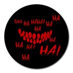 Demonic Laugh, Spooky red teeth monster in dark, Horror theme Round Mousepads