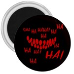 Demonic Laugh, Spooky red teeth monster in dark, Horror theme 3  Magnets