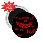 Demonic Laugh, Spooky red teeth monster in dark, Horror theme 2.25  Magnets (100 pack)