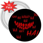 Demonic Laugh, Spooky red teeth monster in dark, Horror theme 3  Buttons (10 pack)