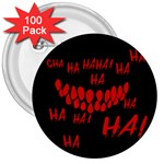 Demonic Laugh, Spooky red teeth monster in dark, Horror theme 3  Buttons (100 pack)