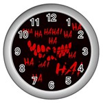Demonic Laugh, Spooky red teeth monster in dark, Horror theme Wall Clock (Silver)