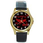 Demonic Laugh, Spooky red teeth monster in dark, Horror theme Round Gold Metal Watch