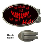 Demonic Laugh, Spooky red teeth monster in dark, Horror theme Money Clips (Oval)