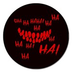 Demonic Laugh, Spooky red teeth monster in dark, Horror theme Magnet 5  (Round)