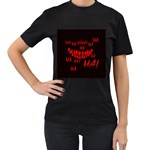 Demonic Laugh, Spooky red teeth monster in dark, Horror theme Women s T-Shirt (Black) (Two Sided)