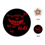 Demonic Laugh, Spooky red teeth monster in dark, Horror theme Playing Cards Single Design (Round)