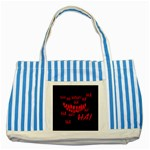 Demonic Laugh, Spooky red teeth monster in dark, Horror theme Striped Blue Tote Bag