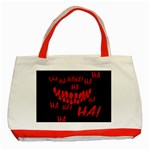 Demonic Laugh, Spooky red teeth monster in dark, Horror theme Classic Tote Bag (Red)
