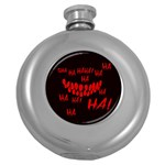 Demonic Laugh, Spooky red teeth monster in dark, Horror theme Round Hip Flask (5 oz)