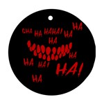 Demonic Laugh, Spooky red teeth monster in dark, Horror theme Round Ornament (Two Sides)