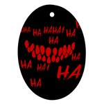 Demonic Laugh, Spooky red teeth monster in dark, Horror theme Oval Ornament (Two Sides)