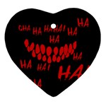 Demonic Laugh, Spooky red teeth monster in dark, Horror theme Heart Ornament (Two Sides)