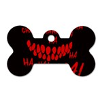 Demonic Laugh, Spooky red teeth monster in dark, Horror theme Dog Tag Bone (One Side)