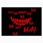 Demonic Laugh, Spooky red teeth monster in dark, Horror theme Large Glasses Cloth (2 Sides)