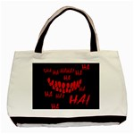 Demonic Laugh, Spooky red teeth monster in dark, Horror theme Basic Tote Bag (Two Sides)