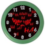 Demonic Laugh, Spooky red teeth monster in dark, Horror theme Color Wall Clock