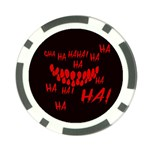 Demonic Laugh, Spooky red teeth monster in dark, Horror theme Poker Chip Card Guard