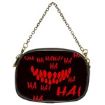 Demonic Laugh, Spooky red teeth monster in dark, Horror theme Chain Purse (Two Sides)