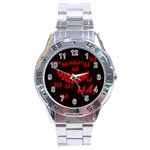 Demonic Laugh, Spooky red teeth monster in dark, Horror theme Stainless Steel Analogue Watch
