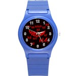 Demonic Laugh, Spooky red teeth monster in dark, Horror theme Round Plastic Sport Watch (S)