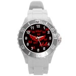 Demonic Laugh, Spooky red teeth monster in dark, Horror theme Round Plastic Sport Watch (L)
