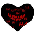 Demonic Laugh, Spooky red teeth monster in dark, Horror theme Large 19  Premium Heart Shape Cushions
