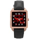 Demonic Laugh, Spooky red teeth monster in dark, Horror theme Rose Gold Leather Watch