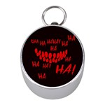 Demonic Laugh, Spooky red teeth monster in dark, Horror theme Mini Silver Compasses