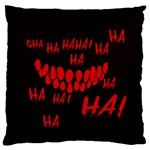 Demonic Laugh, Spooky red teeth monster in dark, Horror theme Large Flano Cushion Case (One Side)