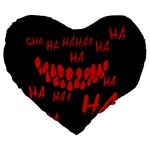 Demonic Laugh, Spooky red teeth monster in dark, Horror theme Large 19  Premium Flano Heart Shape Cushions