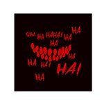 Demonic Laugh, Spooky red teeth monster in dark, Horror theme Small Satin Scarf (Square)