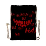Demonic Laugh, Spooky red teeth monster in dark, Horror theme Drawstring Bag (Small)