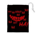 Demonic Laugh, Spooky red teeth monster in dark, Horror theme Drawstring Pouch (XL)