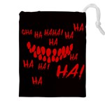 Demonic Laugh, Spooky red teeth monster in dark, Horror theme Drawstring Pouch (2XL)